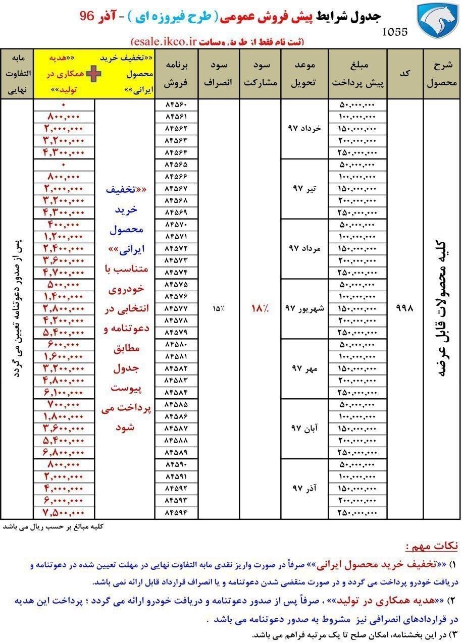 طرح فیروزه ای ایران خودرو آذر 96